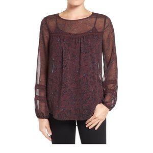 Pleione long sleeve sheer print peasant blouse S